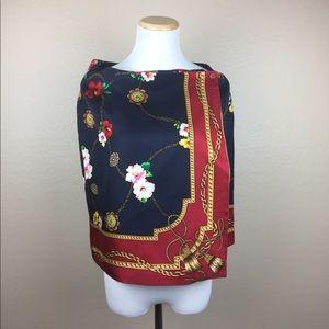Ann Taylor 90's Silk Floral Stole Wrap Shawl